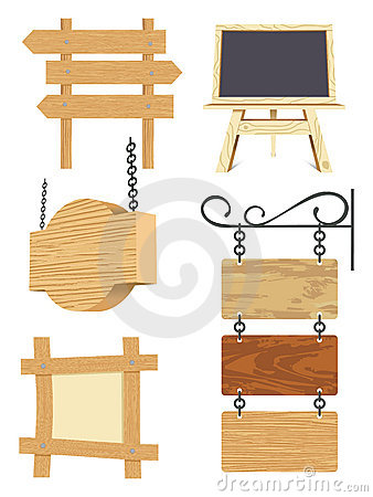 Blank wooden signboard collection