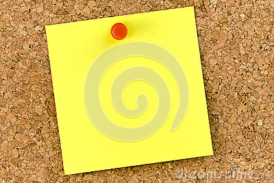 Blank Yellow Post-it Cork Board Pushpin