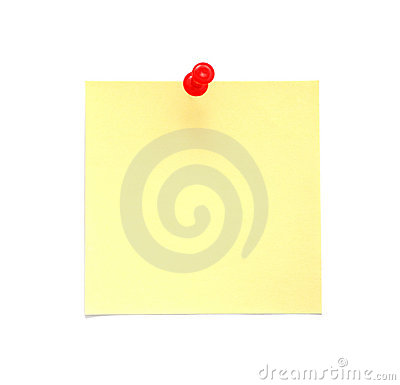 Blank yellow post-it note with red push pin