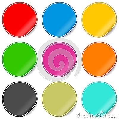 Blanka färgrika setetiketter
