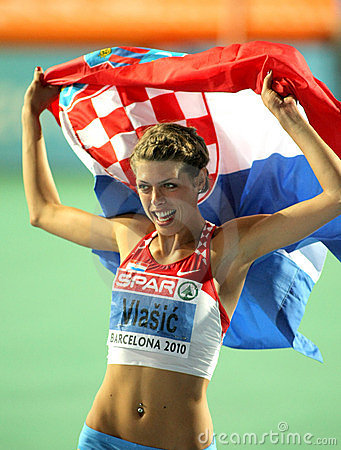 Blanka Vlasic celebrates victory Editorial Stock Image