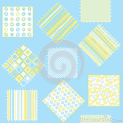 Blanket for baby boys with blue patches