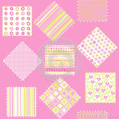 Blanket for baby girls with pink patches
