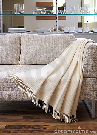Blanket draped over a settee