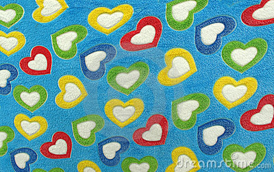 Blanket for love full of coloful hearts