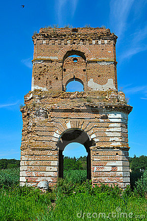 Blasted bell tower of old temple