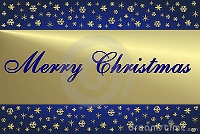 Blaue u. goldene Weihnachtskarte