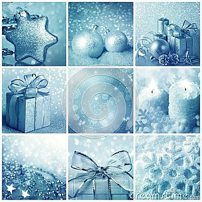 Blaue Weihnachtscollage