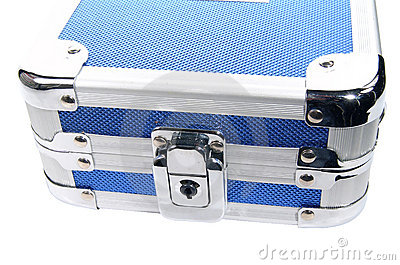 Blauer metallischer Kasten