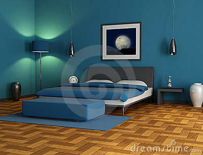 blaues schlafzimmer lizenzfreie stockfotos bild 22356648. Black Bedroom Furniture Sets. Home Design Ideas
