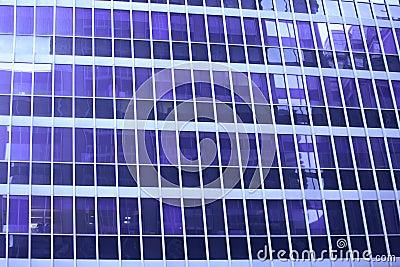 Blaues Wolkenkratzerfensterdetail