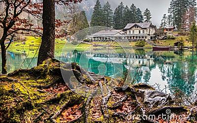 Blausee, Switzerland - Hotel Forellenzucht II Editorial Stock Photo