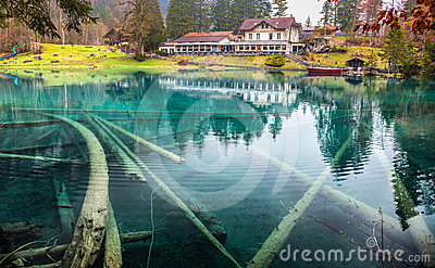 Blausee, Switzerland -Hotel Forellenzucht III Editorial Stock Photo