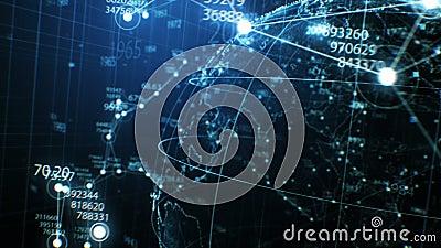 Blauw Aardehologram met Netwerk, Aantallen en Dots Seamless Turning in Close-up Van een lus voorzien 3d Animatie met DOF Onduidel stock illustratie