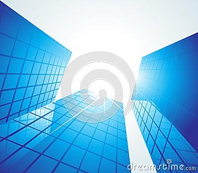 Blauwe bureaugebouwen