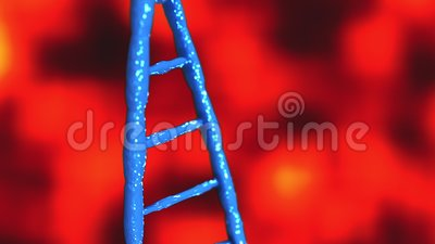 Blauwe DNA-moleculen Abstract technologisch wetenschappelijk concept van biochemie animatie 3D rendering stock illustratie