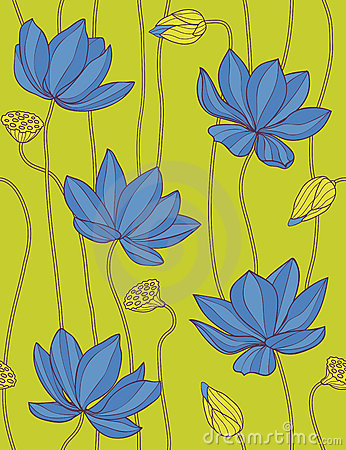 Blauwe lotusbloem - bloemen naadloos patroon