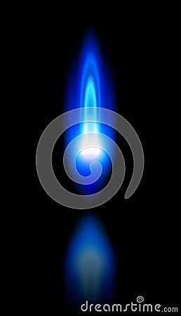 Blauwe vlam van een brandend aardgas