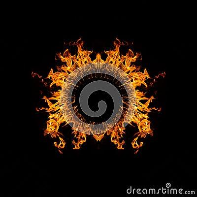 Blazing flames circle on black background