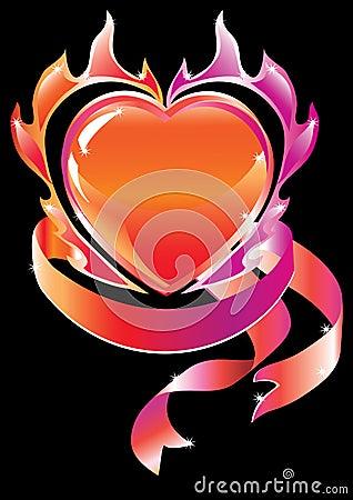 Blazing heart over dark