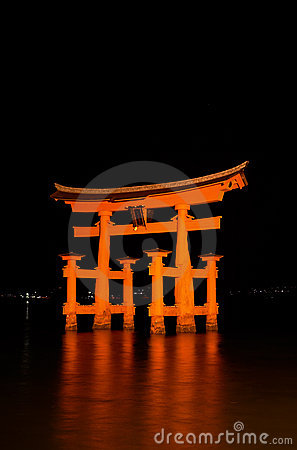 Blazing Miyajima Torii At Night