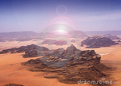 Blazing sun across desert