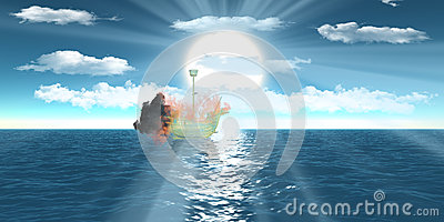 Blazing wireframe ship over sea blue sky