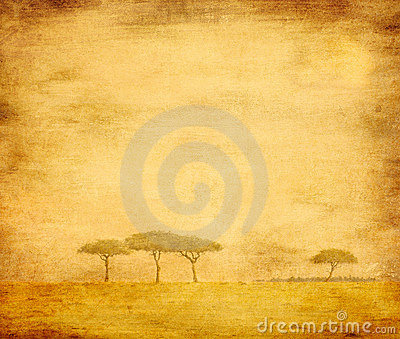 Bleached image of a trees on a vintage paper