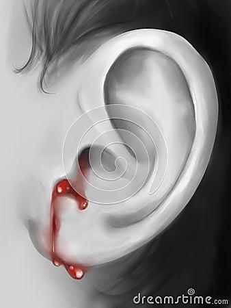 Bleeding ear digital art Stock Photo