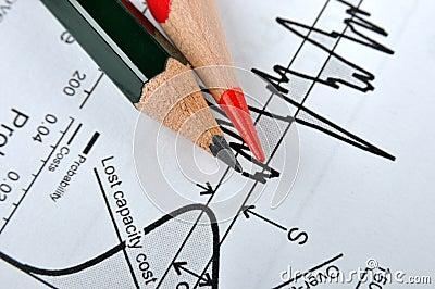 Bleistift und statistisches Diagramm