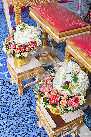 Blessed water at Thai wedding ceremony. Stock Photo