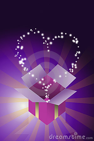Blessing heart star flying from gift box