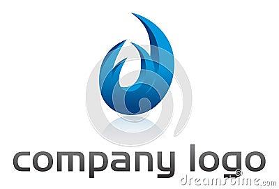 Bleu de logo de vecteur de flamme