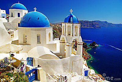 Blew churches of  Santorini