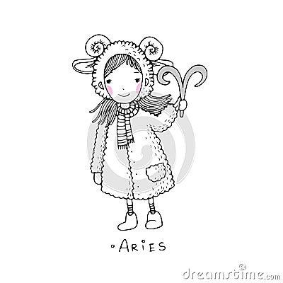 B lier une petite fille mignonne dans un manteau de - Dessin de manteau ...