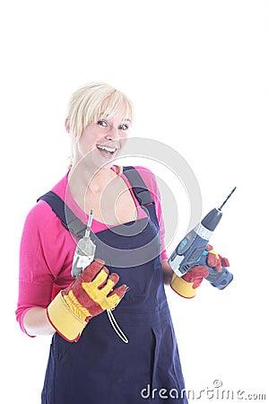 Blije vrouwelijke arbeider