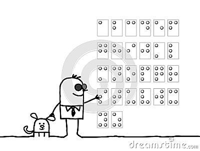 Blind man & Braille alphabet