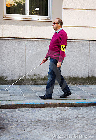 Free Blind Man With Stick Royalty Free Stock Image - 19833766