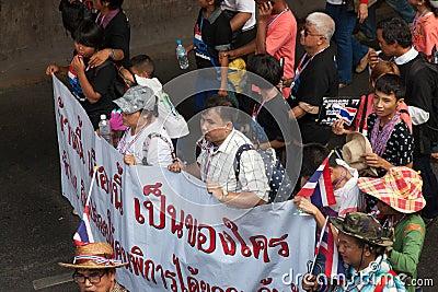 Blind organization at the antigovernment demonstration Thailand
