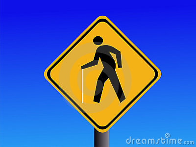 Blind pedestrian warning signs