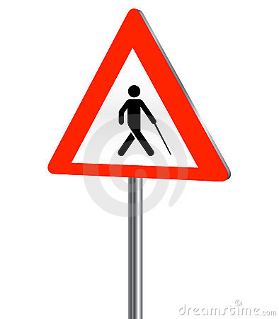 Blind person road sign
