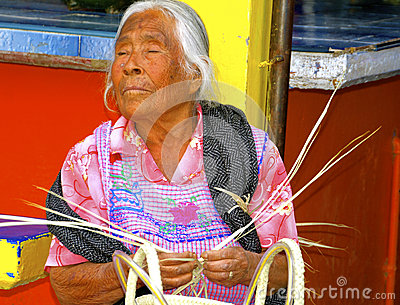 Blind Senior Female Basket Maker Mexico Editorial Photo