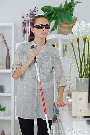 Free Blind Woman Using Stick To Walk Way At Home Royalty Free Stock Photo - 102048135