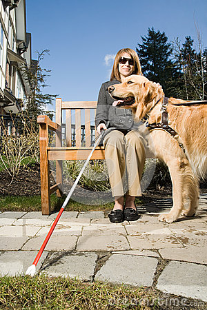 Free Blind Woman With A Guide Dog Royalty Free Stock Image - 62557056
