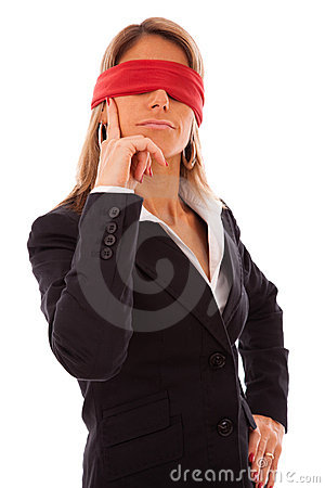 Blindfold businesswoman thinking