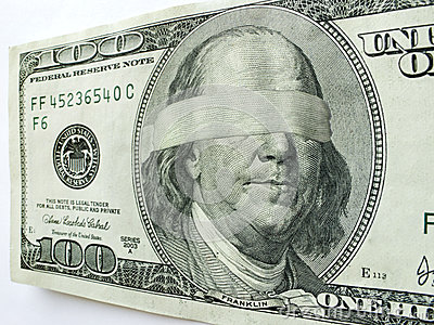 Blindfolded Ben Franklin One Hundred Dollar Bill I