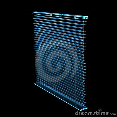Blinds 3D rendered xray blue
