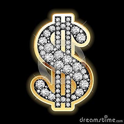 Bling-bling. Dollar symbol in diamonds.