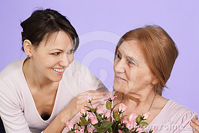 Bliss Caucasian elderly woman and her daughter