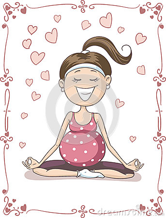 Free Blissful Pregnant Woman Doing Yoga Vector Cartoon Royalty Free Stock Images - 55122199